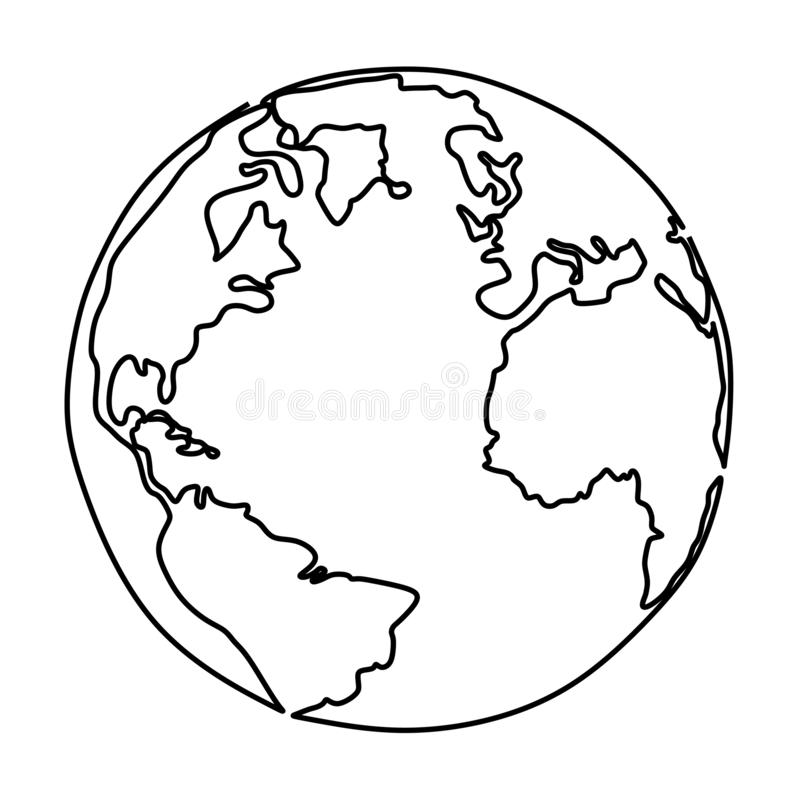 One line drawing of earth minimalist design. Icon white doodle global trendy contour illustration sketch simple graphic modern continent conceptual vector stock illustration