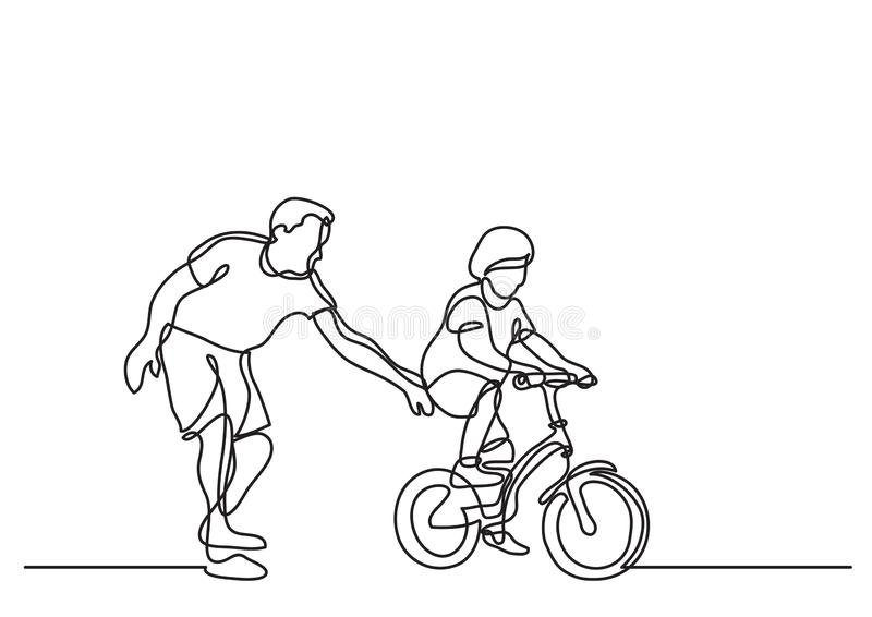 One line drawing of father helping child to drive bicycle vector illustration