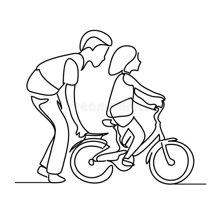 One line drawing of father helping child to drive bicycle. People in the Park. sketch. One line drawing of father helping child to drive bicycle. People in the stock illustration