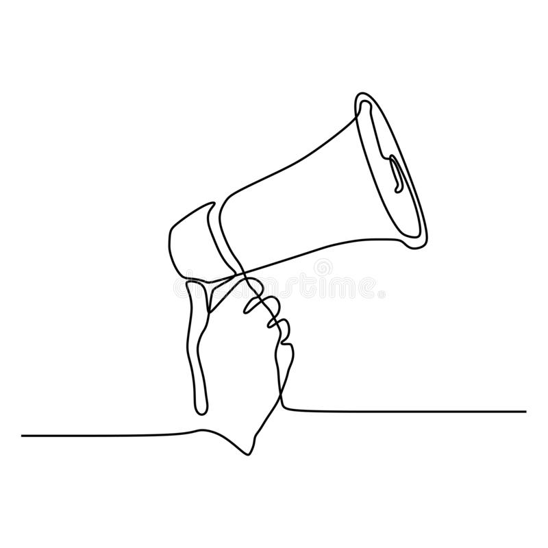 One line drawing of horn speaker hold by hand sign and symbol for announcement and employee hiring. Illustration, megaphone, concept, isolated, vector, sound stock illustration