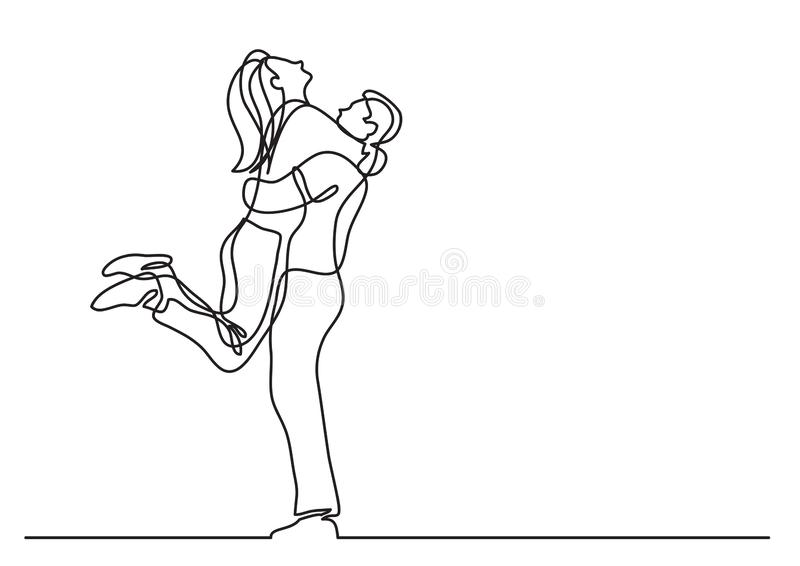 One line drawing of hugging couple vector illustration