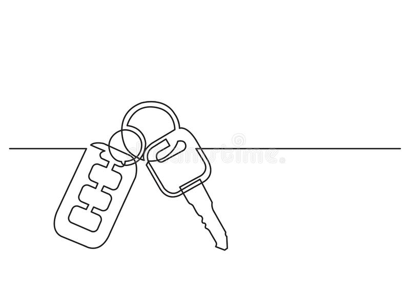 One line drawing of isolated vector object - car keys. Vector linear illustration stock illustration