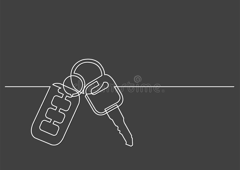 One line drawing of isolated vector object - car keys. Vector linear illustration vector illustration