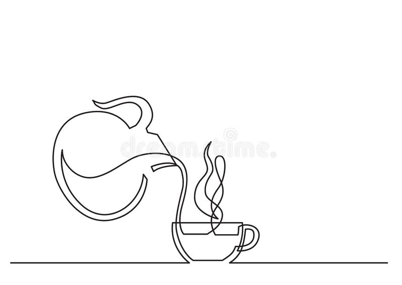 One line drawing of isolated vector object - coffee cup and jar royalty free illustration