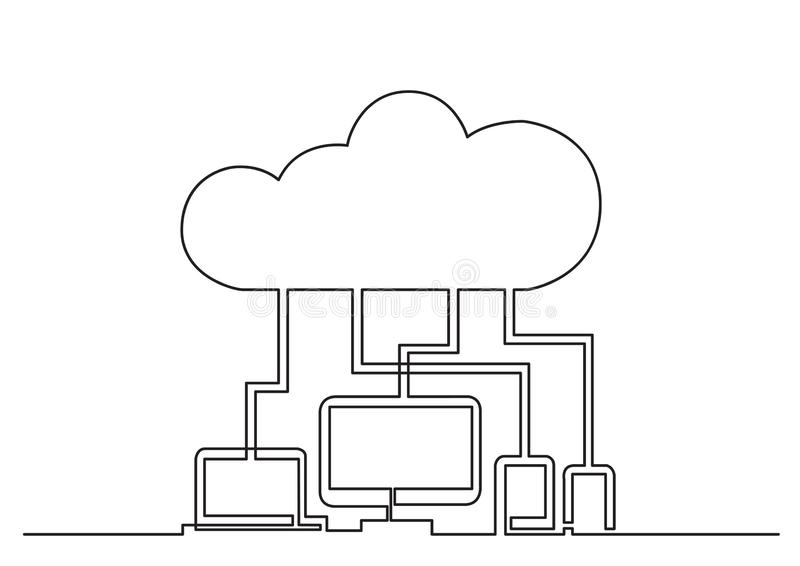 One line drawing of isolated vector object - digital devices connected via cloud. Vector linear illustration vector illustration