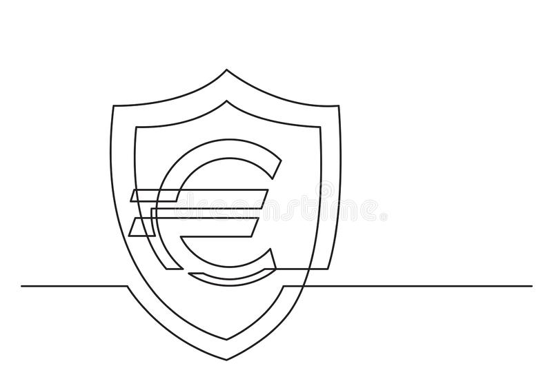 One line drawing of isolated vector object - euro sign and shield stock illustration