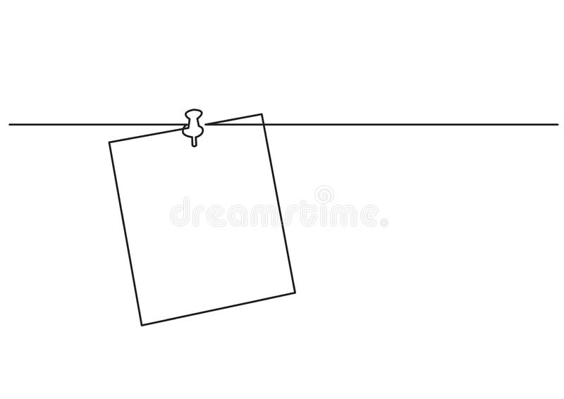 One line drawing of isolated vector object - paper note on push pin stock illustration