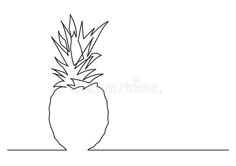 One line drawing of isolated vector object - pine apple royalty free illustration