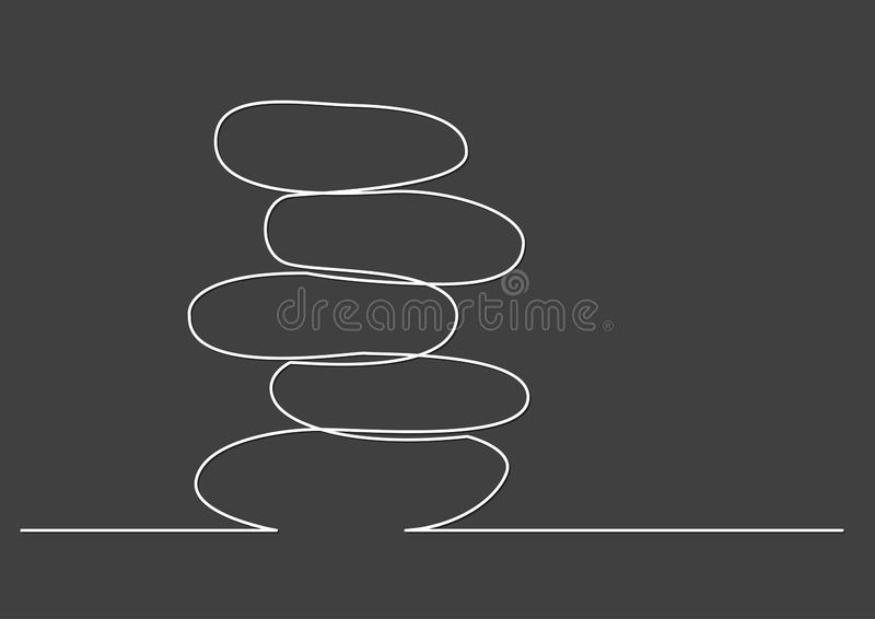 One line drawing of isolated vector object - rock balancing royalty free illustration