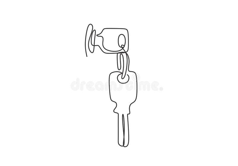One line drawing key minimalist vector illustration object minimalism sign and symbol of security. Icon, lock, safe, door, unlock, access, house, home royalty free illustration