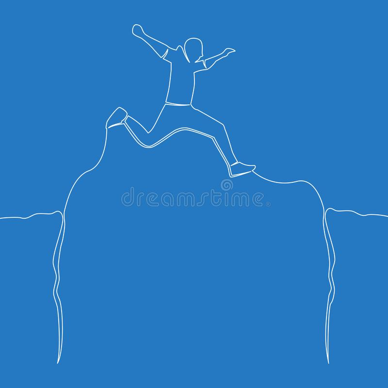 One line drawing man jumping through abyss. Continuous one single line drawing man jumping through abyss icon vector illustration concept royalty free illustration