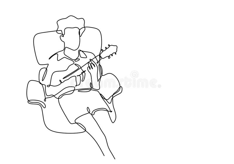 One line drawing of man playing ukulele guitar. A guy sitting on sofa and relax on leisure time. Vector illustration minimalism vector illustration