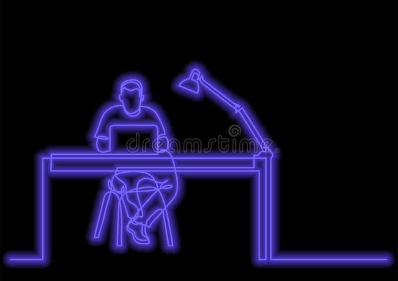 One line drawing of man working with laptop computer behind desk with neon vector effect stock illustration