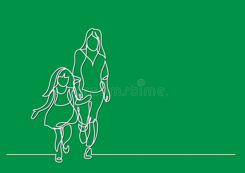 One line drawing of mother and daughter walking together royalty free illustration
