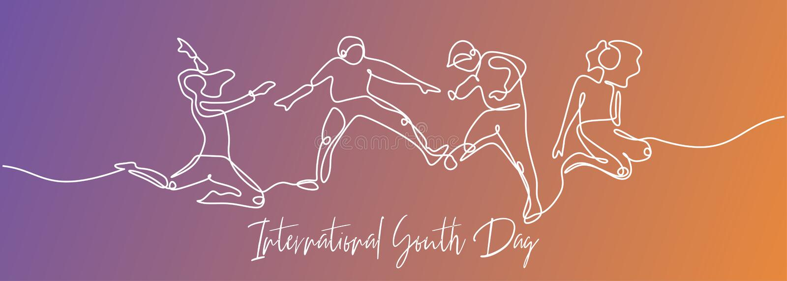 One line drawing of people jump for International youth day continuous hand drawn single lineart design minimalism style vector stock illustration