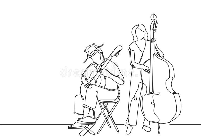 One line drawing of people playing classical music instrument. Man with acoustic guitar and girl with double bass isolated on royalty free illustration