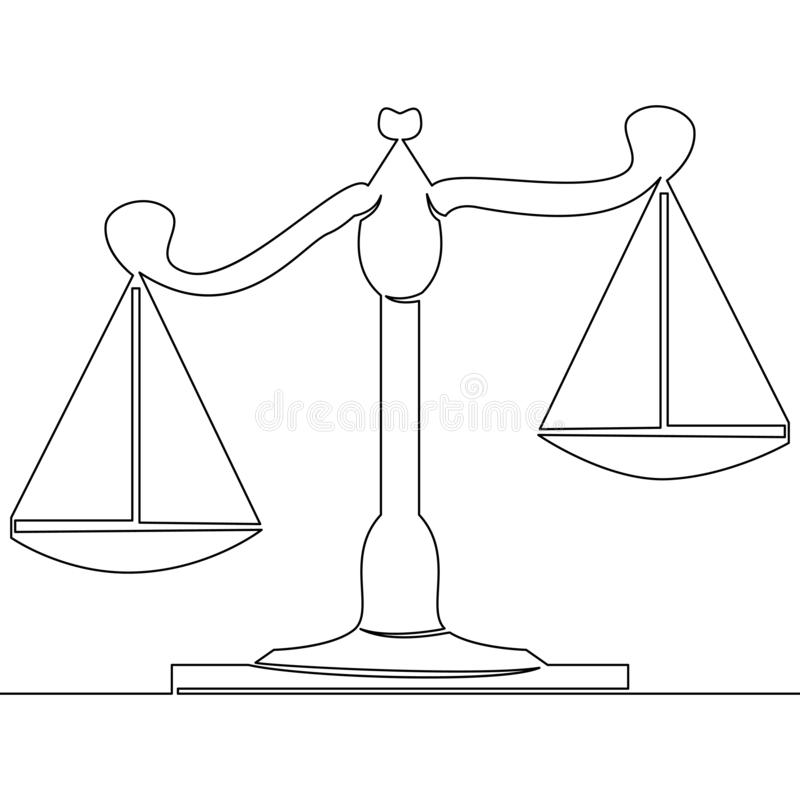 One line drawing scales courtroom concept. Continuous one single line drawing scales of justice courtroom icon vector illustration concept stock illustration