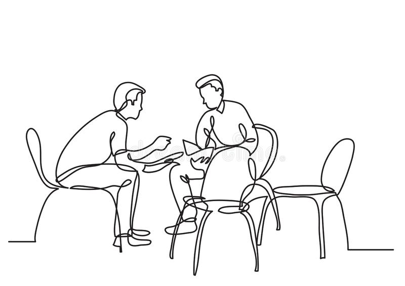 One line drawing of two young men talking. Vector linear illustration stock illustration