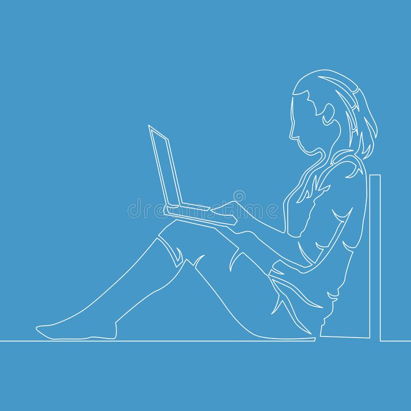 One line drawing woman with laptop computer. One line drawing of a woman sitting with laptop computer vector illustration Concept royalty free illustration