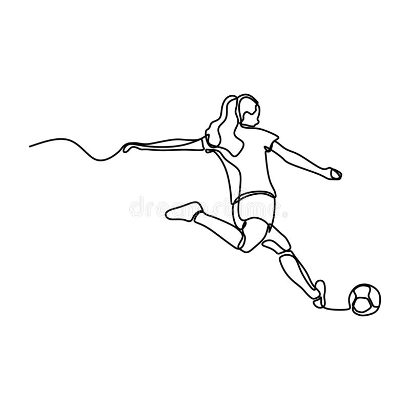 One line drawing of women soccer player continuous style. Minimalism design royalty free illustration