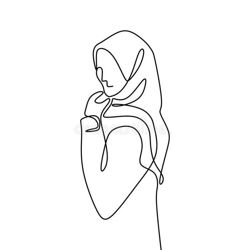 One line drawing of women wearing hijab scarf. Vector hand arabic culture girl isolated clothing beautiful beauty illustration single lines person islamic royalty free illustration