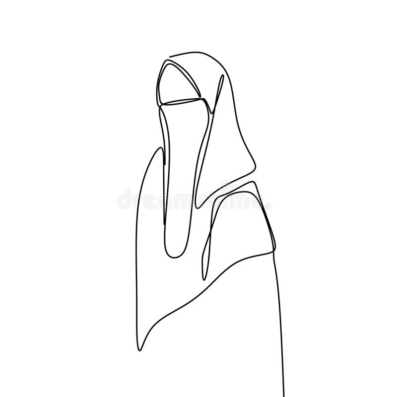One line drawing of women wearing hijab scarf. Vector hand arabic culture girl isolated clothing beautiful beauty illustration single lines person islamic vector illustration
