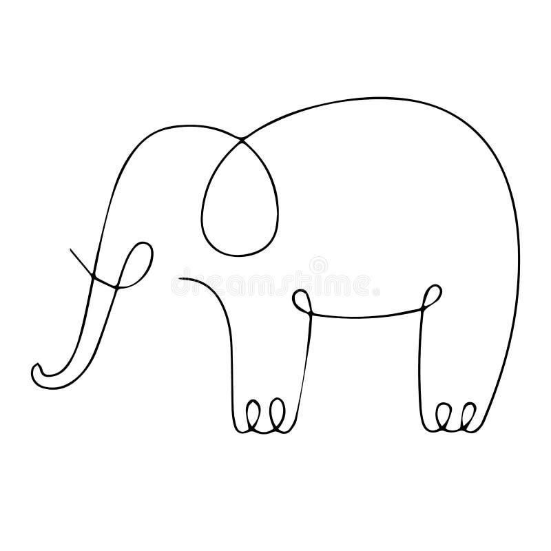 One line elephant design silhouette. Hand drawn minimalism style royalty free stock photo