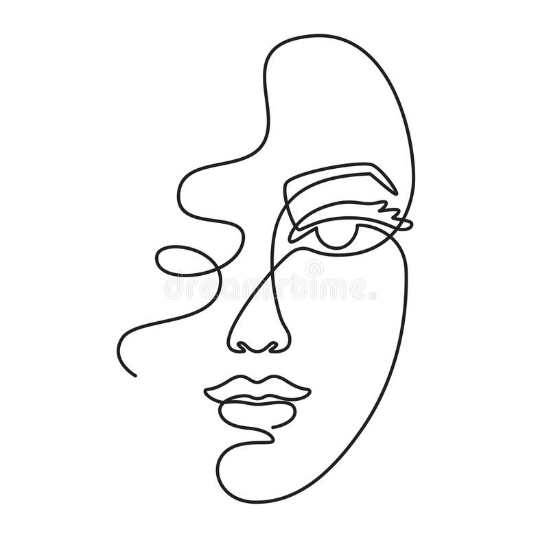 Free One Line Face. Minimalist Continuous Linear Sketch Woman Face. Female Portrait Black White Artwork Outline Vector Hand Royalty Free Stock Image - 190241066