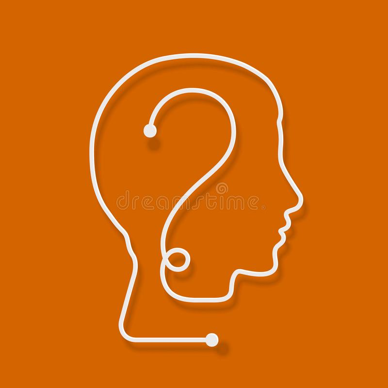 One line forming a human head with question mark. stock illustration
