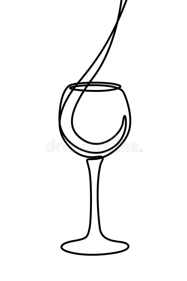 One line liquid is poured into a glass. Continuous line wineglass. Vector royalty free illustration