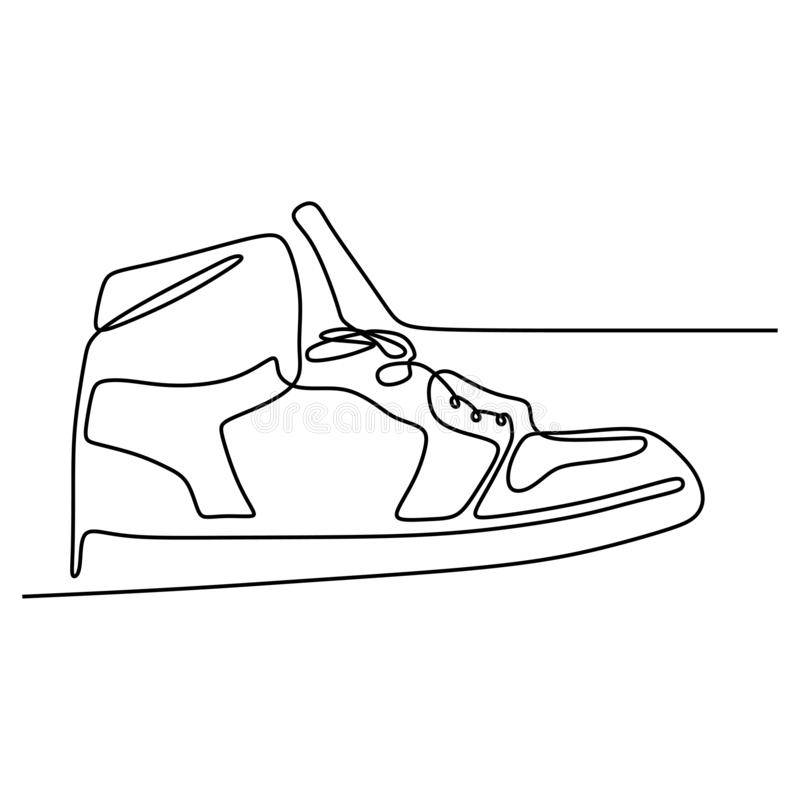 One line of shoe continuous drawing minimal design on white background vector illustration minimalism. Run, symbol, graphic, young, fitness, art, icon, shoes stock images