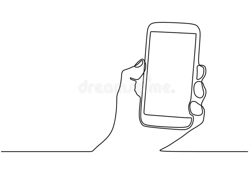 One line smartphone or mobile phone. Vector illustration continuous single hand drawn gadget device. Communication technology. Theme royalty free illustration
