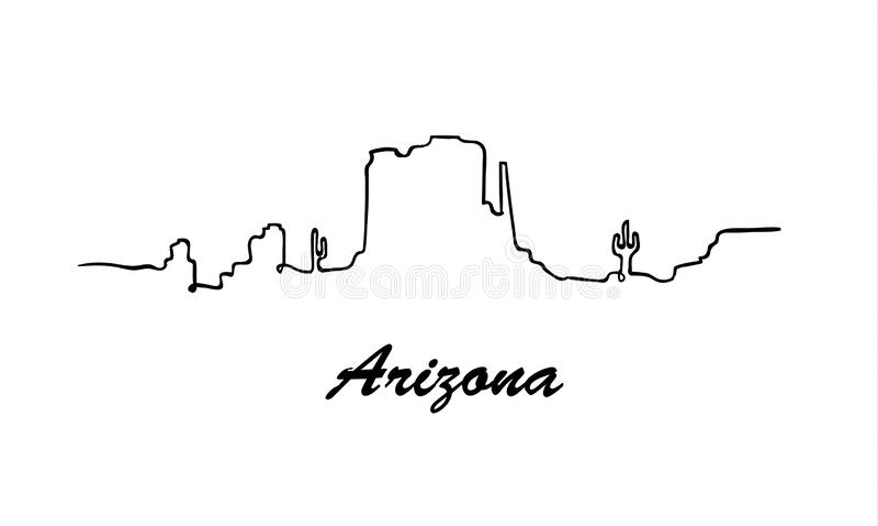 One line style Arizona skyline. Simple modern minimaistic style vector. vector illustration