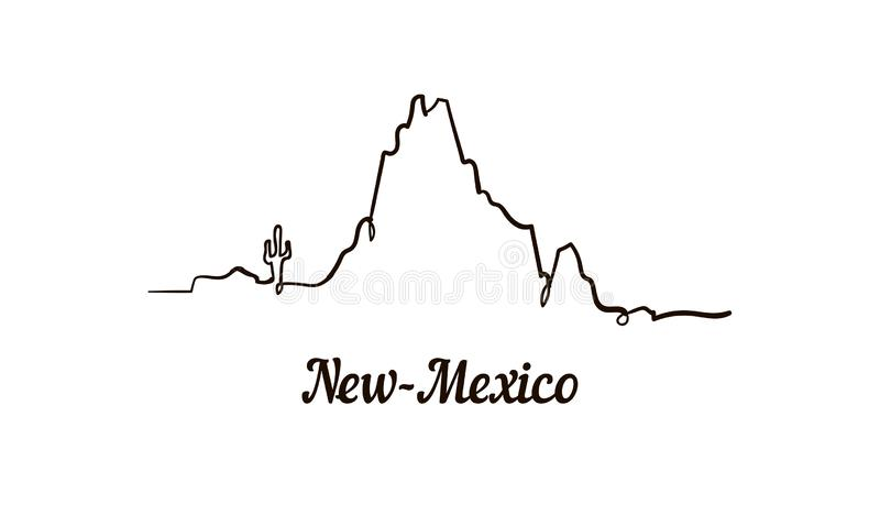 One line style New-Mexico skyline. Simple modern minimaistic style vector. Isolated on white background vector illustration