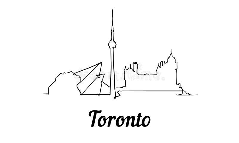 One line style Toronto skyline. Simple modern minimaistic style vector stock illustration