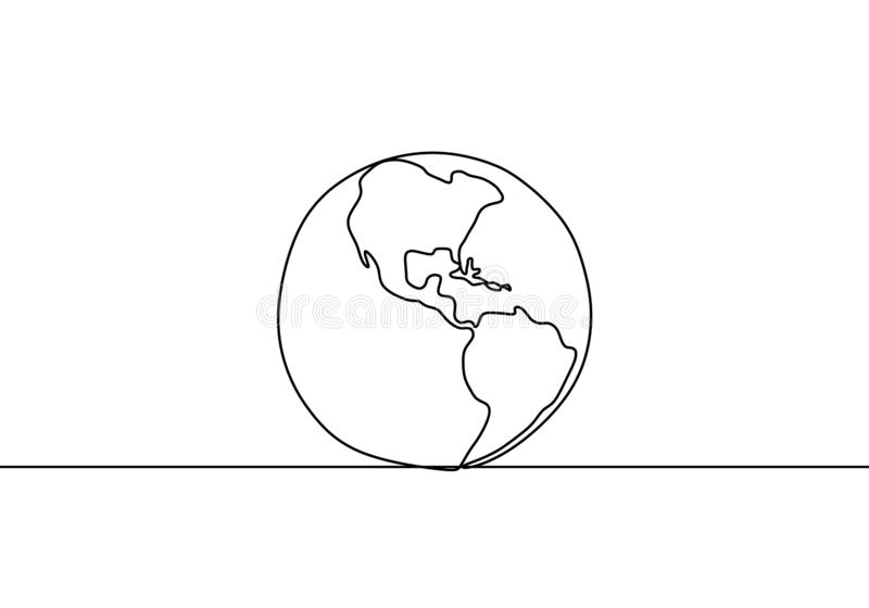 One line style world earth globe continuous design. Simple modern minimalistic style vector illustration on white background. Drawing, america, doodle, sketch royalty free illustration