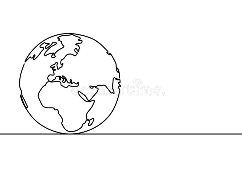 One line style world earth globe continuous design. Simple modern minimalistic style vector illustration on white background. Drawing, america, doodle, sketch stock illustration
