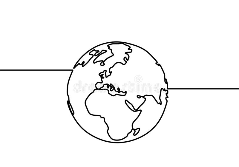 One line style world earth globe continuous design. Simple modern minimalistic style vector illustration on white background stock illustration