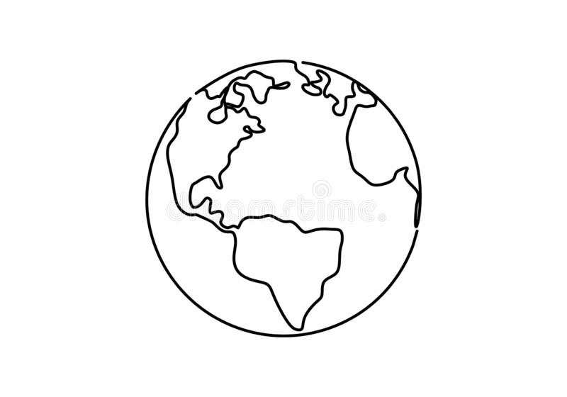 One line style world earth globe continuous design. Simple modern minimalistic style vector illustration on white background. Drawing, hand, planet, icon stock illustration
