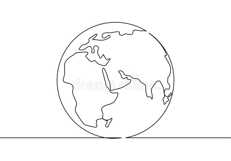 One line style world earth globe continuous design. Simple modern minimalistic style vector illustration on white background. Drawing, america, doodle, sketch vector illustration