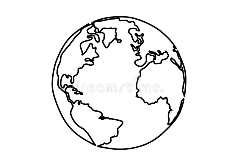 One line style world earth globe continuous design. Simple modern minimalistic style vector illustration on white background. Drawing, hand, planet, icon royalty free illustration