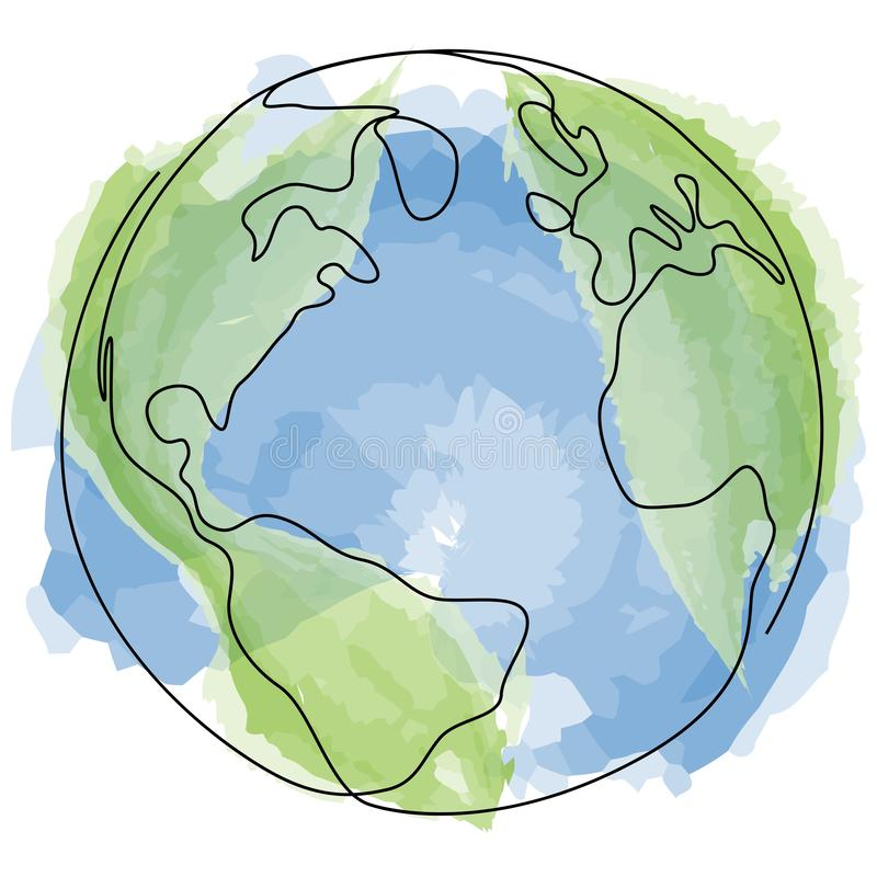 One line style world with watercolour. Minimal style globe Earth drawing. Simple modern minimaistic style vector. stock illustration