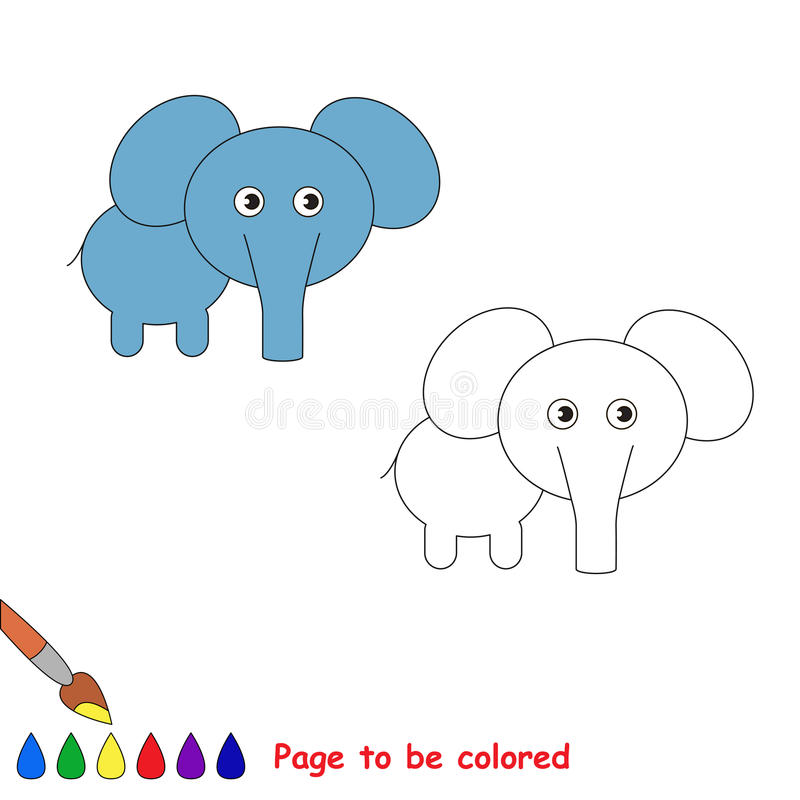 One little elephant. Page to be color. Coloring book for children royalty free illustration