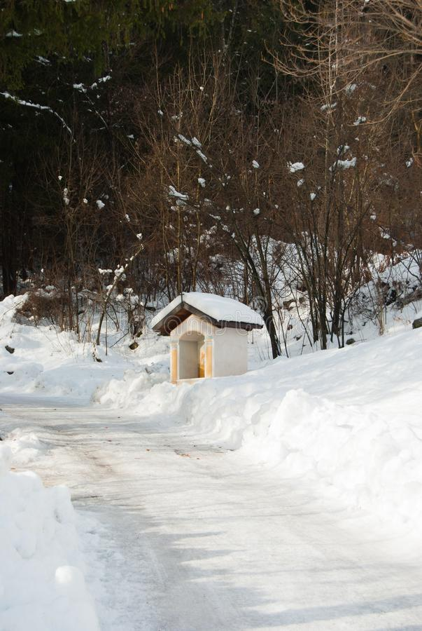 One little house of via Crucis with snow stock photos