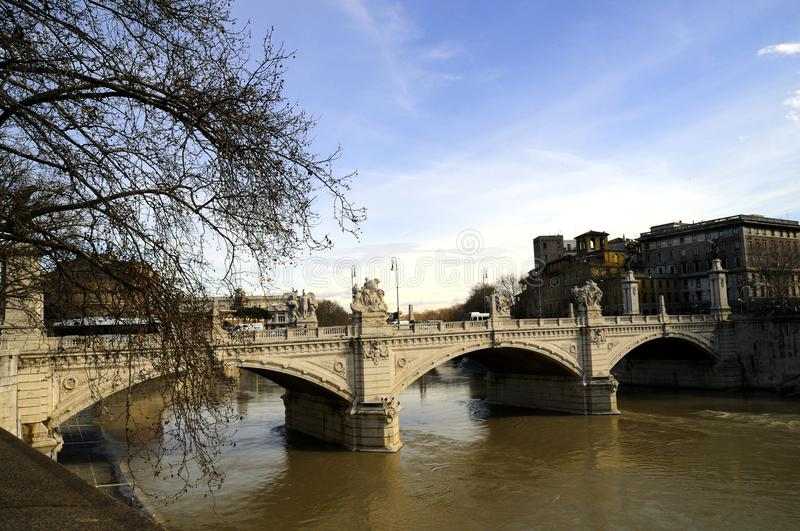 One of the lovely bridges over the River Tiber in Rome royalty free stock photo