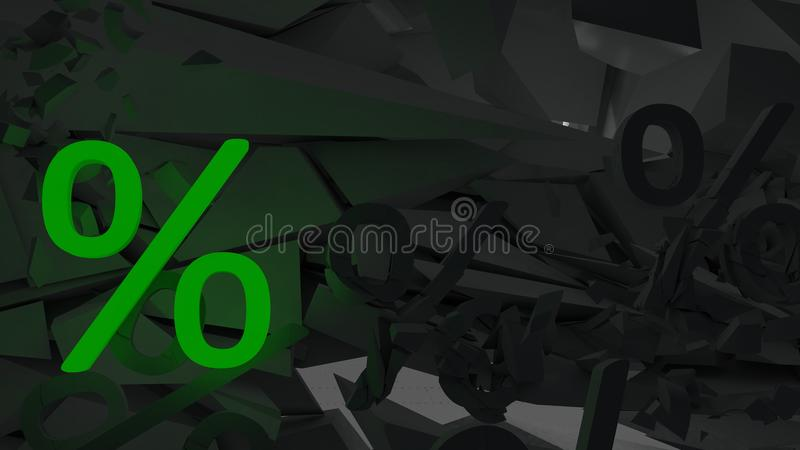 One luminous percent sign and many near dark lie in a heap vector illustration