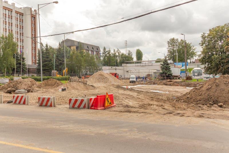 Road repair in the city stock photo