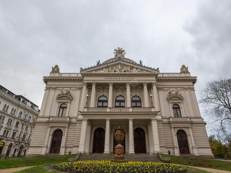 Main facade of Mahenovo Divaldo, also called Mahen theater, in Brno, Czech Republic. It is one of the main cultural landmarks of Brno, and a major Neo-Baroque royalty free stock photos