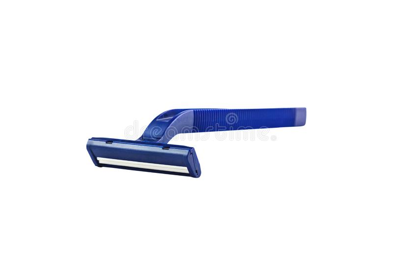 One male disposable plastic razor blue color with two sharp blades isolated on white stock images
