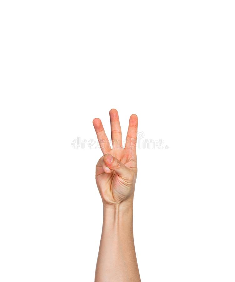 One male hand, fingers in fist with three finger pointing up royalty free stock image
